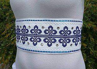Opasky - Svadobný opasok vyšívaný LUXURY FOLK bielo-modrý - 8247585_