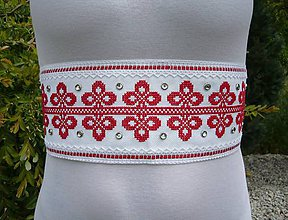 Opasky - Svadobný opasok LUXURY FOLK bielo-červený - 8249289_