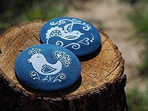 Odznaky/Brošne - Brošňa modrotlač vtáčiky - 8247039_