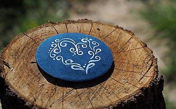 Odznaky/Brošne - Brošňa modrotlač srdce2 - 8247516_