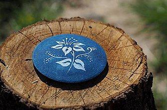 Odznaky/Brošne - Brošňa modrotlač lalia - 8247534_