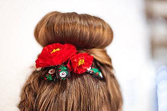 """Ozdoby do vlasov - Kvetinový hrebeček """" Červené maky """" - 8246623_"""