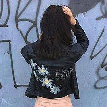 Kabáty - Ručne maľovaná kožená bunda - 8247640_