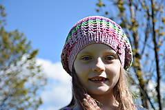 Detské čiapky - Dierkavá farebná baretka bavlna/akryl - 8248085_