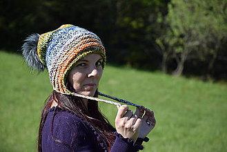 Čiapky - Dámska melírovaná čiapka s kožušinovým brmbolcom - 8248067_
