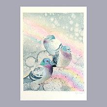 Obrazy - Odvrácená strana duhy II- originál, velký akvarel - 8247609_