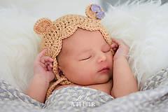 Detské čiapky - Háčkovaný čepček MALÁ MEDVEDICA - 8250278_