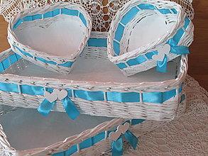 Košíky - Košíky- Svadobná súprava azúrovo modrá - 8250633_