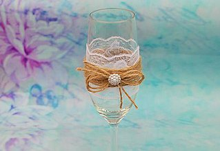 Nádoby - svadobný pohár na šampanské RUSTIK - 8249836_