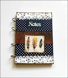 Papiernictvo - Linajkový scrapbookový zápisník ,, Boho feathers\