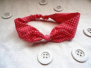 """Ozdoby do vlasov - Látková pin-up čelenka """"červená bodkovaná"""" - 8251838_"""