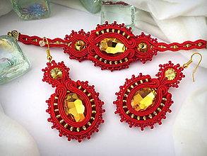 Sady šperkov - červeno zlaté šujtáš náušnice - 8251725_