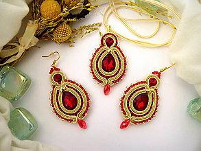 Sady šperkov - červeno zlatý šujtášový set - 8251896_