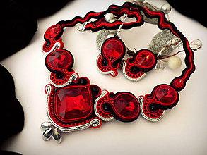 Sady šperkov - červeno čierny šujtášový set - 8252299_