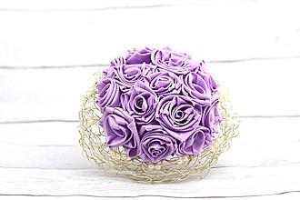 Kytice pre nevestu - Saténová kytica svadobná fialová ruže - 8250039_