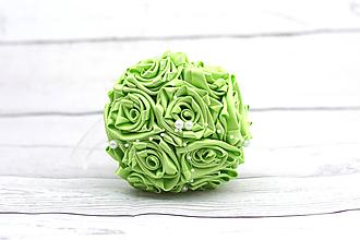 Kytice pre nevestu - VÝPREDAJ! Saténová kytica svadobná zelená ruže - 8250180_