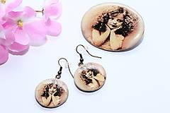 Sady šperkov - Vintage dievčatko - sada náušníc a brošne - 8252567_