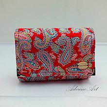 Peňaženky - Peňaženka paisley na červenej - 8249669_