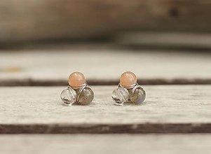 Náušnice - Náušnice napichovačky slnečný kameň, labradorit a krištáľ - 8249636_