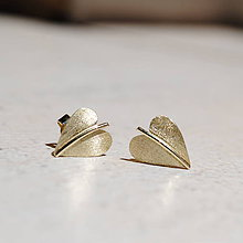 "Náušnice - Náušnice ""jesenné srdcia"" zlaté žlté (puzetkové zapínanie) - 8253213_"