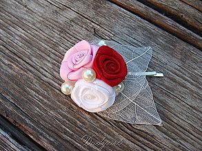 Ozdoby do vlasov - Ružičková sponka pre princeznú - 8255270_
