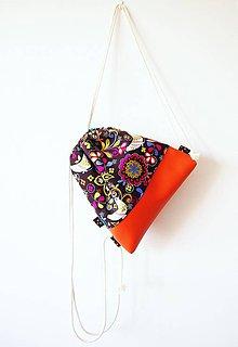 Batohy - Hnedý folk batoh s oranžovou koženkou - 8254128_