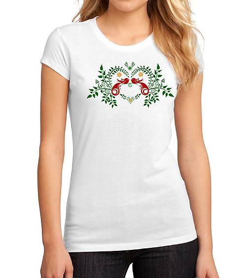 Tričko ornament - vtáky v srdci