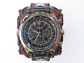 35fd5bf43 Náramky - Pánske červeno čierne kožené hodinky - 8255767_