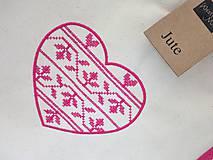 Nákupné tašky - Bavlneno-jutová taška s krížikovou výšivkou srdiečka - 8253738_