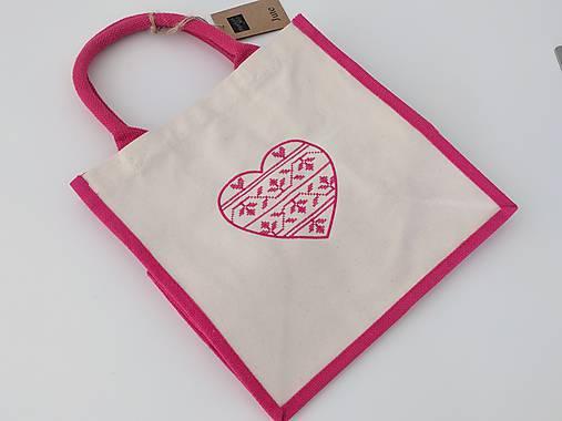 Bavlneno-jutová taška s krížikovou výšivkou srdiečka