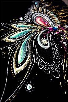 Tričká - čierno - zlatá abstrakcia - 8256128_