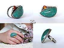 Prstene - Strieborný unikátny prsteň s amazonitom a jantárom - AmaJan - 8257988_