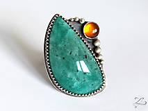 Prstene - Strieborný unikátny prsteň s amazonitom a jantárom - AmaJan - 8257992_