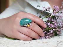 Prstene - Strieborný unikátny prsteň s amazonitom a jantárom - AmaJan - 8257994_