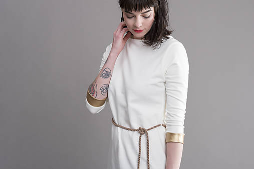 Šaty - Tunikošaty White/Gold - 8259546_