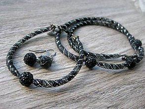 Sady šperkov - Elegantná čierno strieborná sada - náhrdelník, náramok, náušnice č.954 - 8256768_