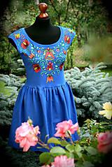 Šaty - Maľba na modré šaty... - 8256718_