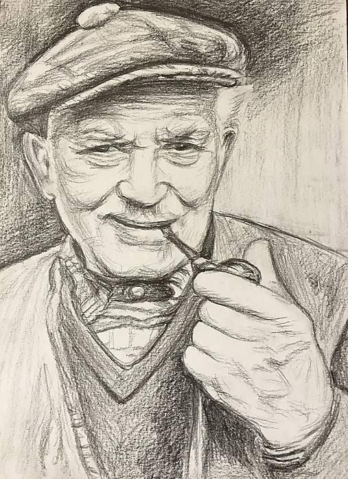 Kresby - starý pán s fajkou... :-) - A5 - 8257949_