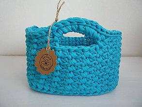 Úžitkový textil - Háčkovaný košík tyrkysové nebo - 8257609_