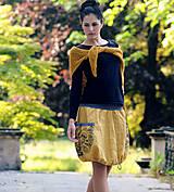 Sukne - Lněná s tiskem - okrově žlutá - 8257096_