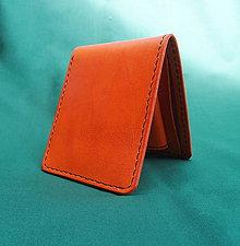Peňaženky - Kožená peněženka, oranžová - 8261014_