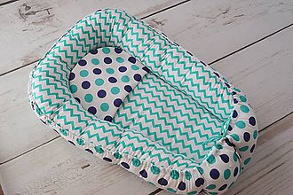 Textil - Hniezdo pre bábätko tyrkysovo-tmavomodré - 8260512_