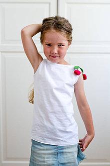 Detské oblečenie - Dievčenské  tričko čerešničky - 8261528_