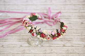 Ozdoby do vlasov - Svadobná bohato zdobená kvetinová parta na štýl venčeka - 8261518_
