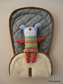 Textil - MERINO podložka do kočíka BUGABOO Bee / Buffalo/ Cameleon/ Donkey s ozdobným prešitím ELEGANT grey 100% wool  - 8262543_
