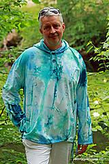 Mikiny - Pánska mikina s kapucou, sťahovacia, batikovaná, maľovaná, etno VARUNA - 8260590_