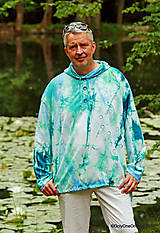 Mikiny - Pánska mikina s kapucou, sťahovacia, batikovaná, maľovaná, etno VARUNA - 8260604_