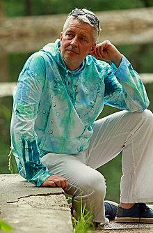 Mikiny - Pánska mikina s kapucou, sťahovacia, batikovaná, maľovaná, etno VARUNA - 8260580_