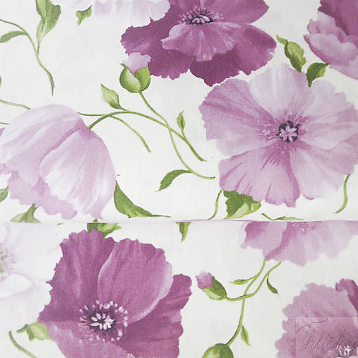 ružové maky, 100 % bavlna, šírka 155 cm, cena za 0,5 m