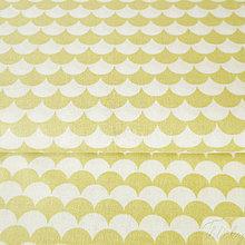 Textil - svetlookrové vlnky; 100 % bavlna Francúzsko, šírka 160 cm, cena za 0,1 m - 8260936_
